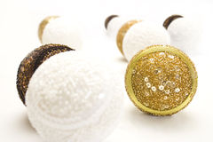 New Year's balls. On white background Royalty Free Stock Photo