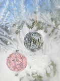 New Year's balls on a fir-tree Stock Images