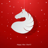 New Year's balls with a silhouette of a horse. Royalty Free Stock Photography