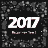 New year`s banner  2017 on black. Festive colorful new year`s  banner with text Happy New Year 2017 Royalty Free Stock Photography