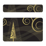 New Year's banner and card. Set of New Year's banner and card royalty free illustration
