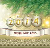 New Years banner in 2014 with golden balls. Under the branches of spruce Royalty Free Stock Photos