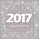 New year`s banner  2017 on grey. Festive colorful new year`s  banner with text Happy New Year 2017 Stock Photo