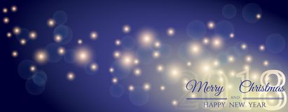 New Year`s banner 2018 with shiny stars and congratulations Royalty Free Stock Photo