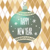 New Year`s bauble with the inscription Happy New Year on the background of a geometric pattern with rhombuses. Stock Images