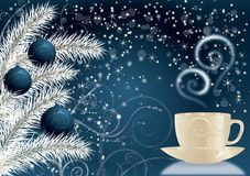 New Year's blue background with a cup. vector Stock Image