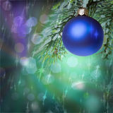 New Year s blue ball on a abstract  background Stock Images