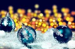 New year's blue balls Royalty Free Stock Photo