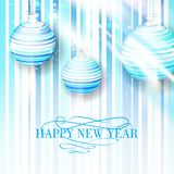 New Year's blue toys on a striped background. New Year's toys on a striped background. Vector illustration Stock Image