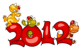 New Year's border. dragon 2012 Royalty Free Stock Photos