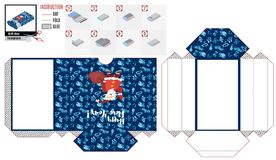 New Year`s box template. Santa with a bag of gifts stock illustration