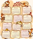 New Year's calendar 2016. With the  monkey Stock Photography