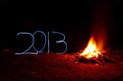 New Year's campfire. Exposed light royalty free stock images