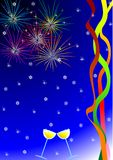 New Year's card. Multi-coloured salute, tapes and glasses with champagne on darkly dark blue background Royalty Free Illustration