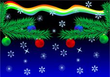 New Year's card. Fur-tree branches with multi-coloured spheres against a dark background Royalty Free Stock Image