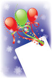 New Year's card. With balloons, a beads, snowflakes and tapes. It is possible to write the text Royalty Free Stock Photos
