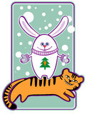 New Year's card. The New Year's card a symbol of 2011 - a rabbit costs on a tiger royalty free illustration