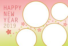 New year`s card 2019.Cute Cherry Blossoms photo frame. vector illustration