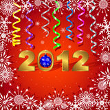 New Year's card. New Year's card with gold figures of year and paper streamer Stock Images