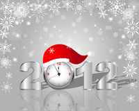 New Year's card. Silver figure 2012 with clock in cap Stock Image