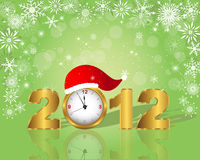 New Year's card. Golden figure 2012 with clock in cap stock illustration