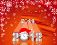 New Year's card. Silver figure 2012 with clock in cap Royalty Free Stock Photo