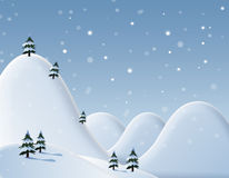 New Year's card. With snowdrifts and fir-trees Royalty Free Stock Images