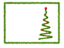 New Year's card. 3d New Year's tree with decorations in frame Stock Photo