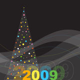 New year's card. New year's image with Christmas tree Royalty Free Stock Photos