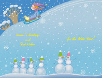 New-Year's card. Little girl with sled and six snowmen Stock Photography