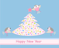 New Year's card. Birds and a colourful Xmas tree Royalty Free Stock Photo