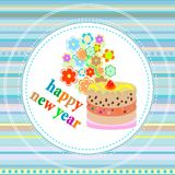 New Year's card with a cake, flowers Christmas Royalty Free Stock Photography