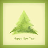 New Year's card with a Christmas tree in a green frame Royalty Free Stock Photos