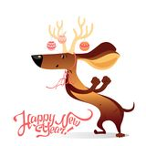 New Year`s card with funny dancing dog Royalty Free Stock Photos