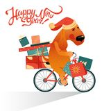 New Year`s card with funny dog on a bicycle with a gifts Stock Images