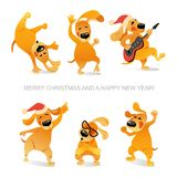 New Year`s card with funny dogs dancing and playing guitar royalty free illustration