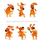 New Year`s card with funny dogs dancing and playing saxophone. In cartoon style stock illustration