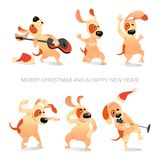 New Year`s card with funny dogs dancing, singing and playing guitar. In cartoon style vector illustration
