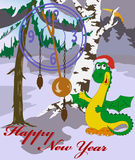 New Year's card with image of dragon in wood. Vector New Year's card with image of a dragon in wood Royalty Free Illustration