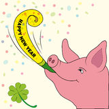 New Years card Lucky pig with trumpet Royalty Free Stock Photography