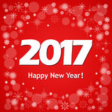 New year`s card 2017 on red. Festive colorful new year`s  banner with text Happy New Year 2017 Stock Image