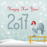 New year`s card with rooster. New year`s card with symbol of the year 2017 red rooster and  text Happy New Year 2017 Stock Photo
