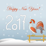 New year`s card with rooster. New year`s card with symbol of the year 2017 red rooster and  text Happy New Year Stock Photography