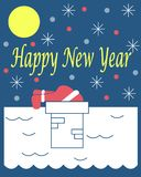 The New Year`s card with Santa Claus on a roof. Blue background royalty free illustration