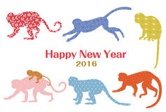 New Year's card. Silhouette design of the monkey Royalty Free Stock Image