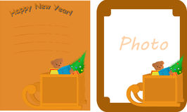 New Year's card with sledge Stock Photography