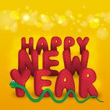 New Year's card with snake Royalty Free Stock Images