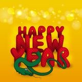 New Year's card with snake Royalty Free Stock Image