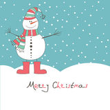 New year's card with  snow man. New year\'s card with angel snow man for you. Vector illustration Stock Photography