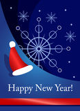 New Years card. Card with the snowflake and cap image sant stock illustration